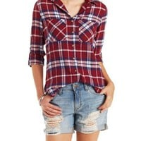 Dark Red Combo Plaid Flannel Button-Up Shirt by Charlotte Russe