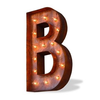 "24"" Letter B Lighted Vintage Marquee Letters (Modern Font/Rustic)"