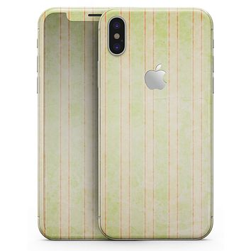 Grungy Yellow Faded Vertical Stripes - iPhone X Skin-Kit