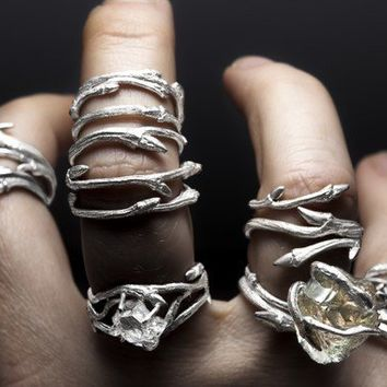Elvish bands set of 3 sterling silver twig stackers  by redsofa