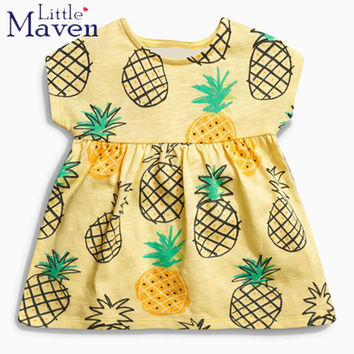 Little maven 2017 new summer baby girls brand clothes kids Cotton pineapple print one-piece dress 1-6 years