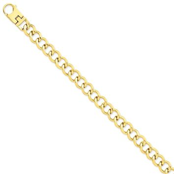 14k Yellow Gold 9.50mm Men Fancy Link Chain Bracelet - Fine Jewelry Gift