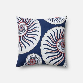 Loloi Navy / Coral Decorative Throw Pillow (P0448)