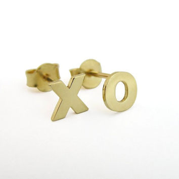 14k Solid Gold XO Earrings -  Letters Studs - Hugs and Kisses - Gift For Her