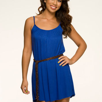 Comfortable Nightgown Mini Tent Dress Royal Blue by NaughtyNaughty
