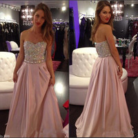 Beading Bodice Evening Dress Chiffon Prom Gowns Long Women Formal Dresses 2015