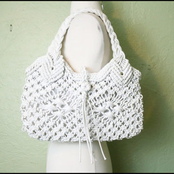 Vintage '70s White Knotted Rope Bag// Shoulder by StoriesForBoys