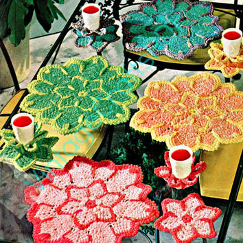 Instant Download PDF to make Flower Place Mats and Glass Holders VintageCrochet Pattern 1960s USA to brighten any lunch brunch picnic from
