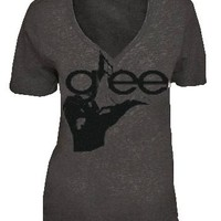 Glee Hand Charcoal Gray V-Neck Acid Washed Juniors T-shirt - Glee  - | TV Store Online