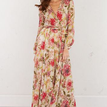 Floral Maxi Dress in Beige Pink