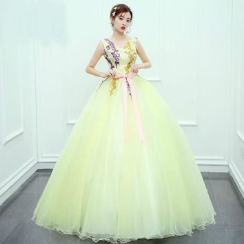 Candy Color Evening Dress V-Neck Sleeveless with delicate Flower Pattern Princess Gown