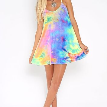 Future Music Dress - soft and stretchy neon pink, yellow, green, blue and purple tie-dye dress