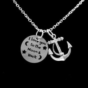 Anchor I Love You To The Moon And Back Best Friends Wife Sisters Gift Necklace