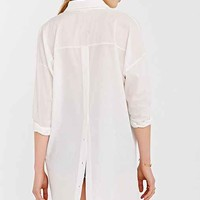 Silence + Noise Step-Hem Popover Shirt- White