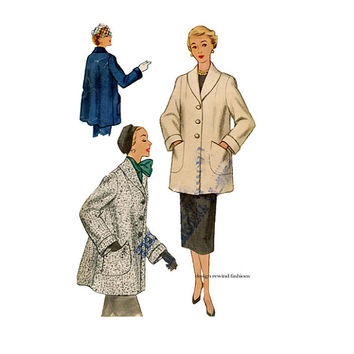 1950s WOMENS COAT PATTERN Swing Coat patterns Shawl Collar Jacket Topper Pattern Bust 40 McCalls 9273 Plus Size Womens Sewing Patterns