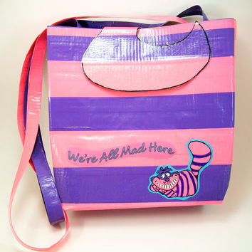 Cheshire Cat Duct Tape Purse  Pink and Purple by PyrateWench