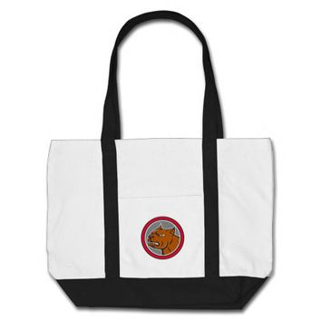 Pitbull Dog Mongrel Head Circle Side Cartoon Tote Bag