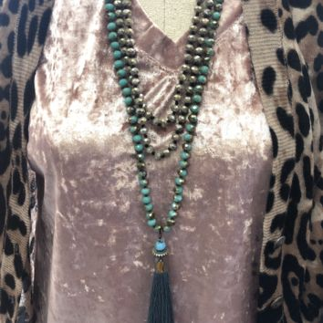 Turquoise beaded Necklace w/ Turquoise Tassel
