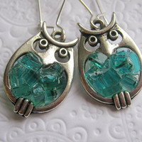 Stained Glass Blue Little Blue Owl Earrings