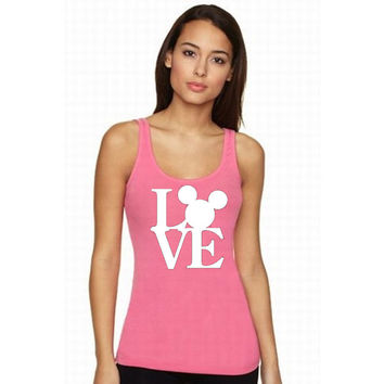 Love Disney Tank Top Minnie Mouse Mickey Mouse (Multi Color Choices) Regular Back Womens T-Shirt