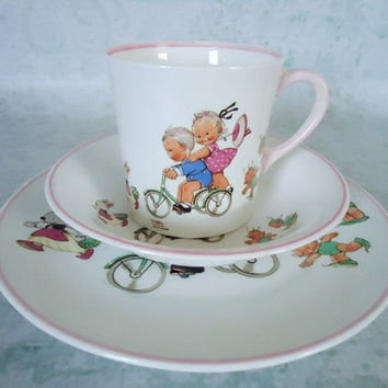 Rare Shelley Bone China Mabel Lucie Attwell Child Trio Set - Vintage Shelley Bone China Trio