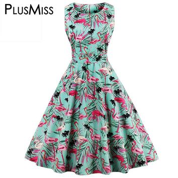 Plus Size 4XL Animal Flamingo Print Pin Up Dress Summer Women 2017 Vintage 50s A Line Sleeveless Party Midi Dress Big Size