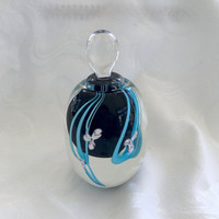 Art Glass Perfume Bottle, Cobalt Aquamarine Blue, Signed R. Gandelman, Vintage Perfume Bottle