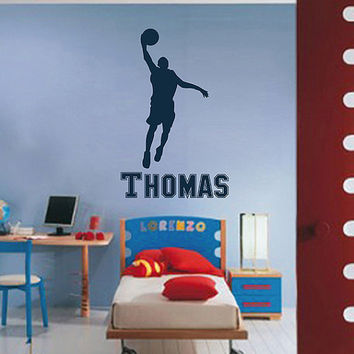 kik2736 Wall Decal Sticker basketball sports teenage boy's name nursery teenager