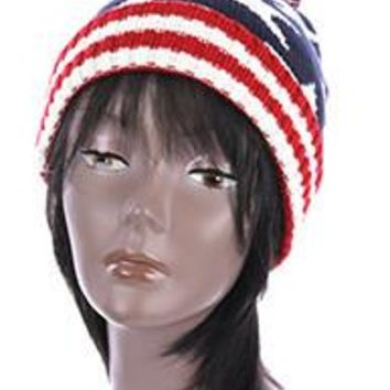 American Flag Patriotic Red Blue White  Stars and Stripes winter Beanie Hat one size