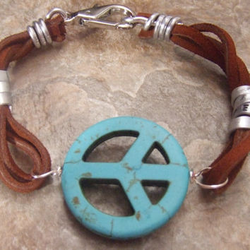 Personalized Hidden Message  - Turquoise Peace Sign -  Multi- Strand Suede Leather Bracelet