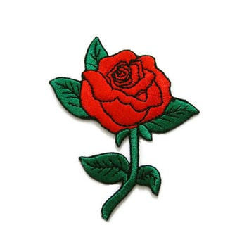 Red Roses Tattoo Biker Embroidered Applique Iron on Patch 6.5 cm. x 7.9 cm.