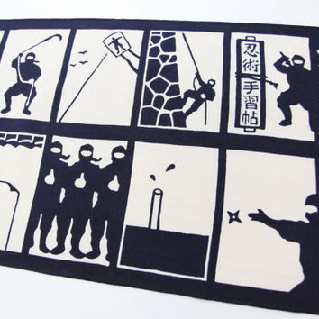 ninja Japanese Tenugui cotton fabric, ninja technique tenugui for boy, ninja wall decoration, indigo blue japanese fabric, curtain fabric