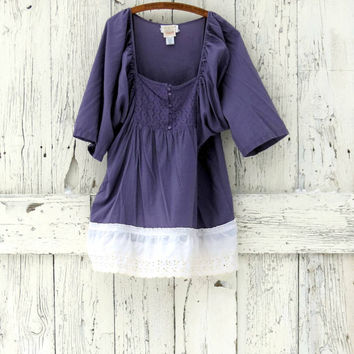 Radiant Orchid Tunic Top- upcycled peasant blouse- plum indie fashion- purple bohemian eco fashion-