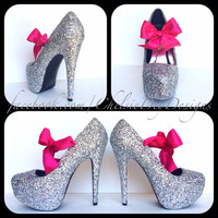 The Silver Bullet Glitter High Heels w/ pink bow