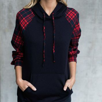 2019 New Winter Women Hoodie Top Sweatshirt Plaid Long Sleeve Pullover Jumper Plus Size Women Clothing