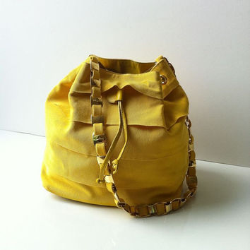 Vintage Salvatore Ferragamo Yellow Drawstring Bucket Chain Bag