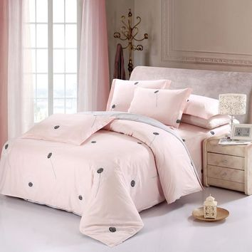 Cool New Arrival 100% Cotton Sweet Pink Dandelion Bedding Set Romantic 4pcs queen king size Printed Bedsheet Pillowcase Duvet CoverAT_93_12