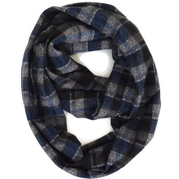 Plaid scarf, infinity scarf, Spring cotton scarve, Plaid print scarf, Cotton Scarf, Women Accessories, Blue Beige Scarf, Man and Women scarf