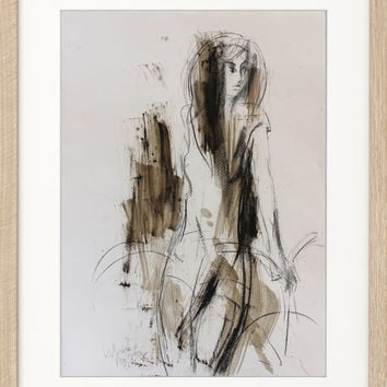 Wall art Original drawing Sketch Mixed media Woman Modern Figurative Graphic art Abstract artwork Fine art Charcoal Home decor Model Figure
