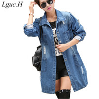 Lguc.H Women Large Size Denim Jackets Female Hole Ripped Torn Jean Jackets Cotton Big Size Spring Autumn Clothes Casual S M 5XL