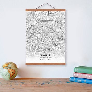 Paris, France City Map Wooden Framed Canvas Painting Home Decor Wall Art Print Pictures Poster Hanger