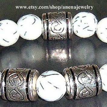 "Mens Bracelet  Rare White Resin "" Sapa Inca"" 1"