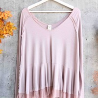 Free People - We The Free Tangerine thumbhole flared hem top - Mauve