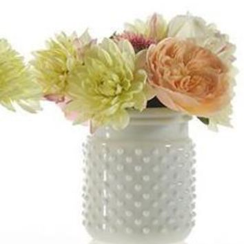 """Glass Hobnail Jar in White5"""" Tall x 3.5"""" Wide with 3"""" Opening"""