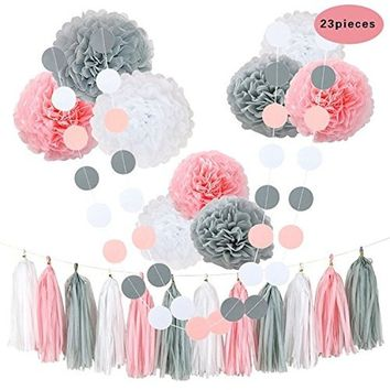 Tissue Flowers Pom Poms Party Girl Paper Decorations First Birthday Girl Tissue Flowers Tassel Paper Baby Shower Decorations (Pi