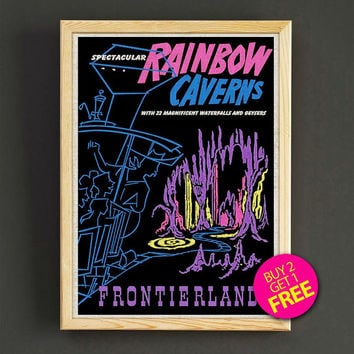 Vintage Frontierland Rainbow Caverns Print Disneyland Attraction Poster Reprint Home Wall Decor Gift Linen Print - Buy 2 Get 1 FREE - 368s2g