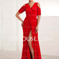 [US$ 128.99] Sheath V-neck Sweep Train Chiffon Evening Dress With Ruffle (017014234)