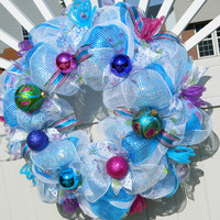 Christmas Wreath - Metallic Blue Peacock Inspired Deco Mesh - Holiday / Birthday Wreath