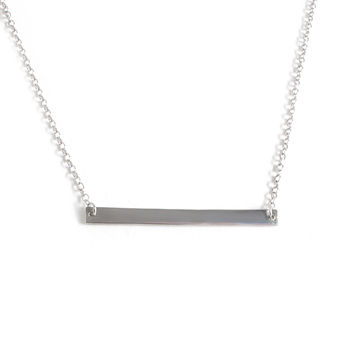 Minimalist Thin Bar Necklace (Silver)