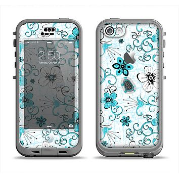 The Blue and White Floral Laced Pattern Apple iPhone 5c LifeProof Nuud Case Skin Set